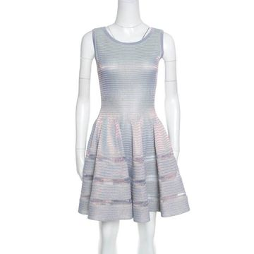 Alaia Silver Striped Knit Sleeveless Fit and Flare Dress M