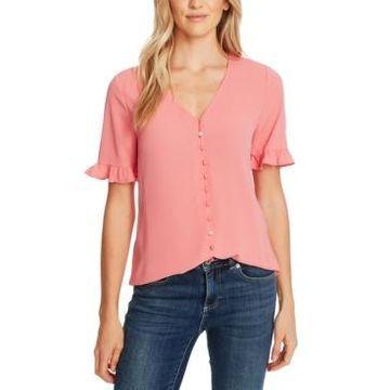 CeCe Ruffled V-Neck Shirt