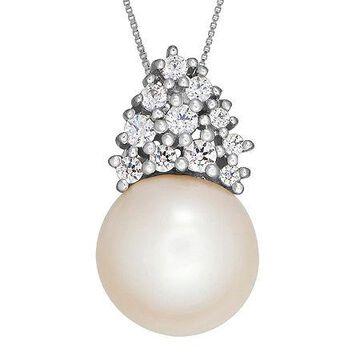 Certified Sofia Bridal Cultured Freshwater Pearl & Swarovski Cubic Zirconia Silver Pendant No Color Family