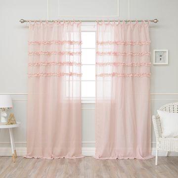 Aurora Home Ruffle Stripe Curtain Panel Pair
