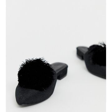 Truffle Collection wide fit pom pom mules
