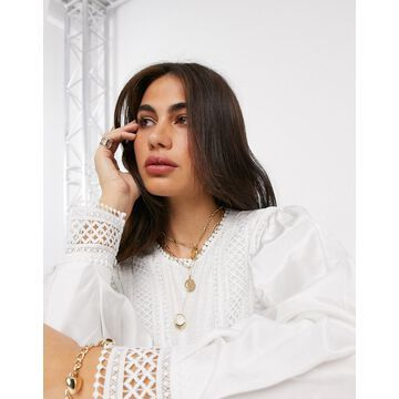 Y.A.S blouse with lace detail and volume sleeve in white