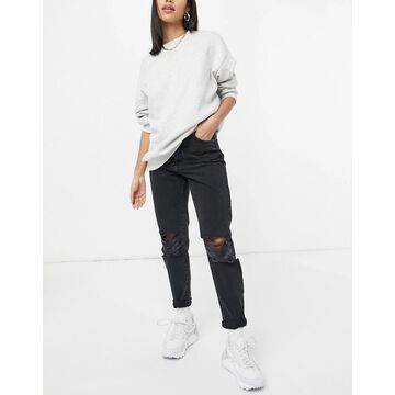 Dr Denim Nora jeans with extreme rip in black