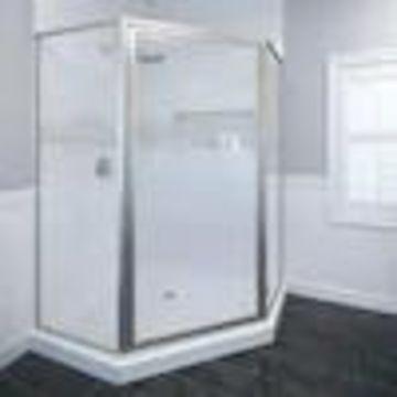 Basco Deluxe 59.375-in to 59.375-in W Framed Hinged Brushed Nickel Shower Door