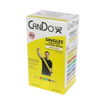 CanDo latex-free exercise band, 5-foot Singles, 30-piece dispenser, yellow