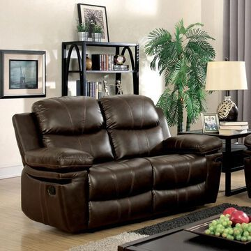 Furniture of America Eliv Contemporary Brown Reclining Loveseat