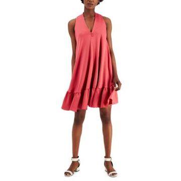 Taylor V-Neck Ruffled-Hem Dress