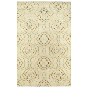 Kaleen Rosaic 2 x 8 Wool Beige Damask Runner Cotton in Brown   ROA08-03-268