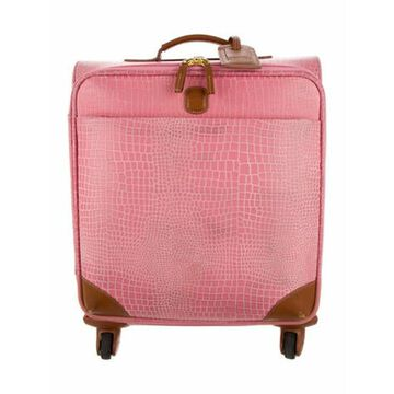 Embossed Leather Suitcase Pink
