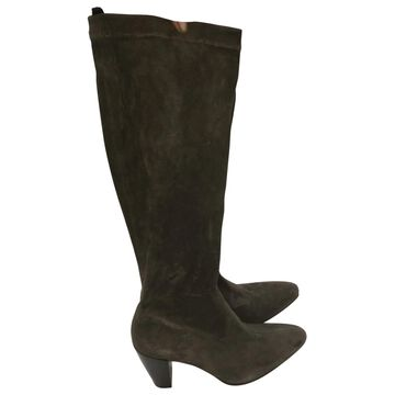Robert Clergerie Green Suede Boots
