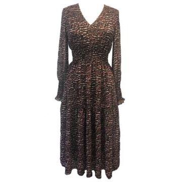 Taylor Plus Size Printed Smocked-Chiffon A-Line Dress