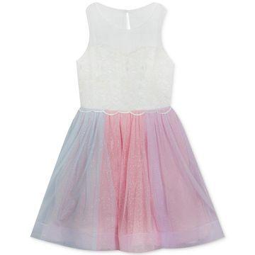 Big Girls Rainbow-Mesh Illusion Dress