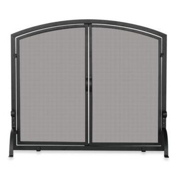 UniFlame Large Fireplace Screen in Single Panel with Doors in Black Wrought Iron