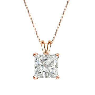 Auriya 1/2ctw Princess-cut Solitaire Diamond Necklace 14k Gold