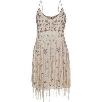 Haute Hippie Taken Fringed Embellished Chiffon Mini Slip Dress