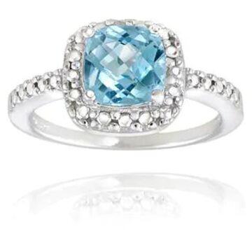 Glitzy Rocks Sterling Silver Square Cushion-cut Gemstone and Diamond Accent Ring (November - Blue - Yellow/Blue - 7.5 - Topaz)