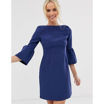 Vesper flute sleeve shift dress-Blue