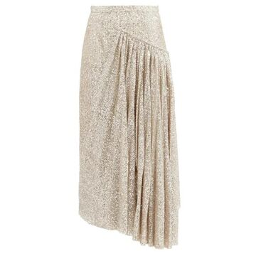 Rochas - Asymmetric Sequinned Skirt - Womens - Silver