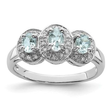 Sterling Silver Rhodium-plated Aquamarine and Diamond Ring by Versil (6)