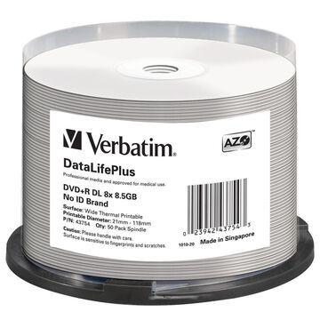 Verbatim 43754 DVD+R DL 8.5GB 8X DL Thermal Printable 50pk Spindle