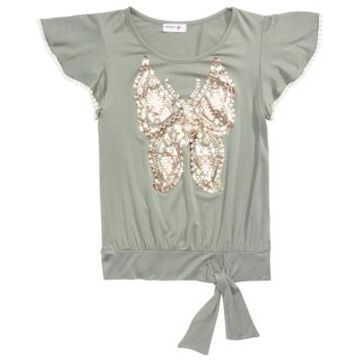 Beautees Big Girls Butterfly Flutter-Sleeve Top