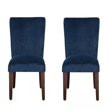HomePop Velvet Dining Chair 2-piece Set, Blue, Furniture