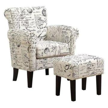 Monarch Fabric Script Accent Chair w/ Ottoman, Off White & Black Frenc