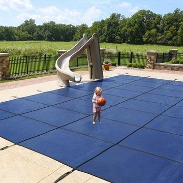 Blue Wave 18-Year Mesh In-Ground Pool Safety Cover w/ 4-ft x 8-ft Center Step - Blue