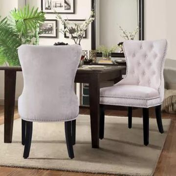 Chic Home Velvet Upholstered Dining Chairs in Beige (Set of 2)