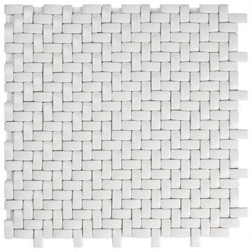 SomerTile 12.25x12.25-inch Expresiones Weave White Glass Mosaic Floor and Wall Tile (10 tiles/10.4 sqft.) (CASE)