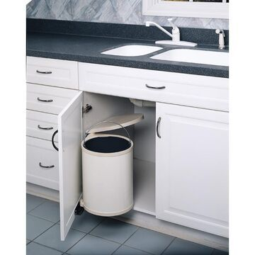 Rev-A-Shelf 6-Quart Plastic Pull Out Trash Can in White