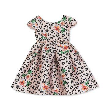 Baby Girls Leopard Floral Mikado Dress