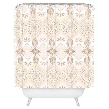 Buff Diamond Shower Curtain Beige - Deny Designs
