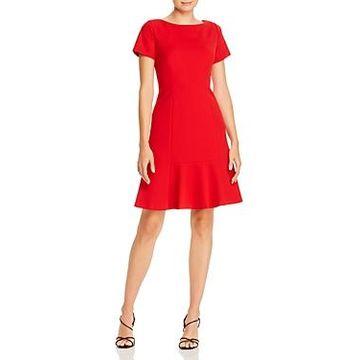 Karl Lagerfeld Paris Scuba Crepe Flounce Dress
