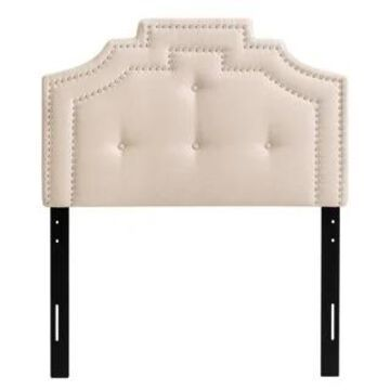 CorLiving Aspen Crown Silhouette Headboard with Button Tufting - Twin/Single (Cream)