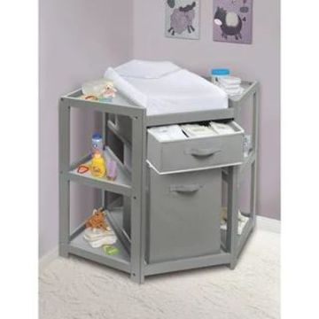 Diaper Corner Baby Changing Table with Hamper and Basket (Gray with White Basket/Hamper)