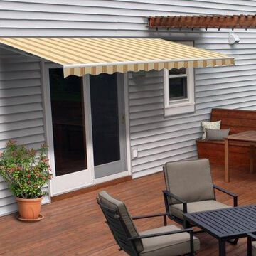 ALEKO 8'x6.5' Retractable Patio Awning, Multi Striped Yellow Color