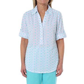 Cathy Daniels Womens Roll-Tab Sleeve Blouse