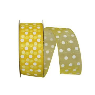 "JAM Paper 1.5"" Sheer Dots Glee Ribbon in Lemon   1.5"" x 25yd   Michaels"