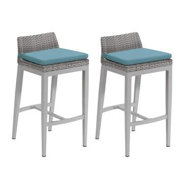 Oxford Garden Argento Resin Wicker Bar Stool with Powder Coated Aluminum Legs - Ice Blue Polyester Cushion (Set of 2) (Blue)