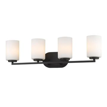 Golden Lighting Manhattan 4-Light Black Transitional Vanity Light