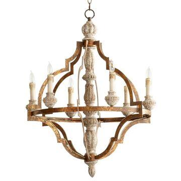 "Cyan Design 05256 Bastille 6 Light 25"" Wide Taper Candle Chandelier Sawyers White Wash / Plantation Bronze Indoor Lighting Chandeliers"