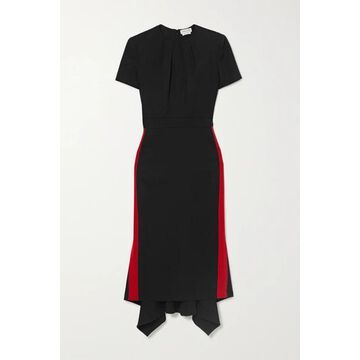 Alexander McQueen - Striped Grain De Poudre Wool Midi Dress - Black