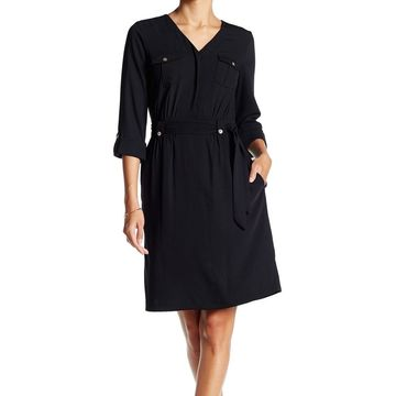 Ellen Tracy Womens Dress Black Size 10 Sheath V-Neck Tie-Waist Pocket