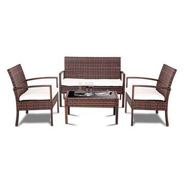 Costway 4 Pc Rattan Patio Furniture Set Garden Sofa Wicker Cushioned Seat brown