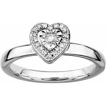 Sterling Silver Heart Diamond Ring