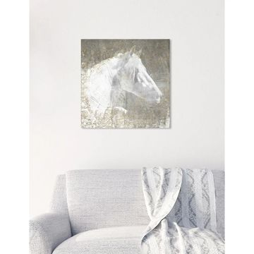 Oliver Gal 'Lone Blanc Horse' Animals Wall Art Canvas Print - White, Gold