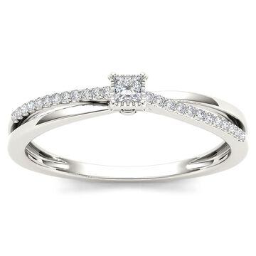De Couer IGI Certified 10k Gold 1/8ct TDW Diamond Split-shank Engagement Ring