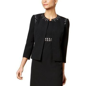 Kasper Womens Embellished Business Open-Front Blazer