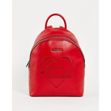 Love Moschino script logo backpack in red